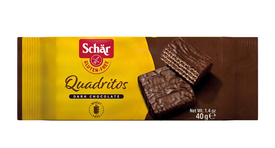 SCHAR QUADRITOS безглютеновый вафельный батончик с какао в глазури из черного шоколада